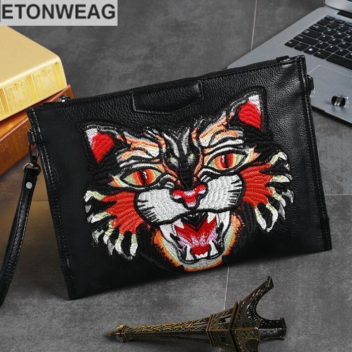 Original design leather men bag personality embroidery men handbag fashion tiger head embroidery leather shoulder bag mens hand bag