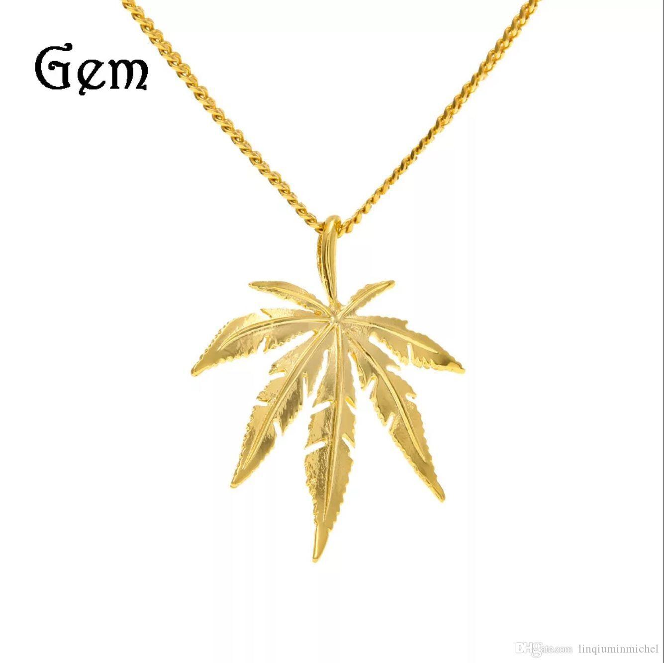 Oro placcato acero l foglia ciondolo collana uomini ms hip hop fascino erbe 60 centimetri catene cubane collane mens moda hiphop gioielli regalo di compleanno