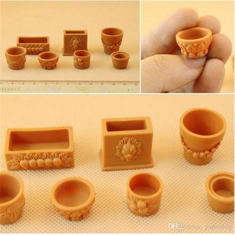 2018 en gros! 7 pcs 1:12 Maison de poupée Miniature Pot Ornement Paysage Naturel Micro Accessoire