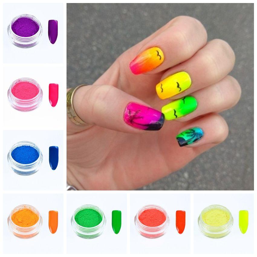 YENİ 7Boxes Seti Parlak Renk Neon Etkisi Pigment Toz Floresan Nail Art Glitter Toz Toz Jel Pigment DIY Dekorasyon FPB29