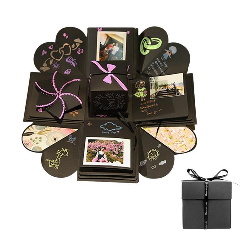 OurWarm DIY مفاجأة الحب انفجار علبة هدايا انفجار لذكرى سجل القصاصات DIY صور عيد الميلاد هدية 15x15x15cm