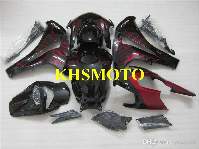 Red Flames Black Fairing Kit voor Honda CBR1000RR 08 09 10 11 CBR-1000RR CBR 1000RR 2008 2009 2010 2011 Motorfietsverbarsting Set