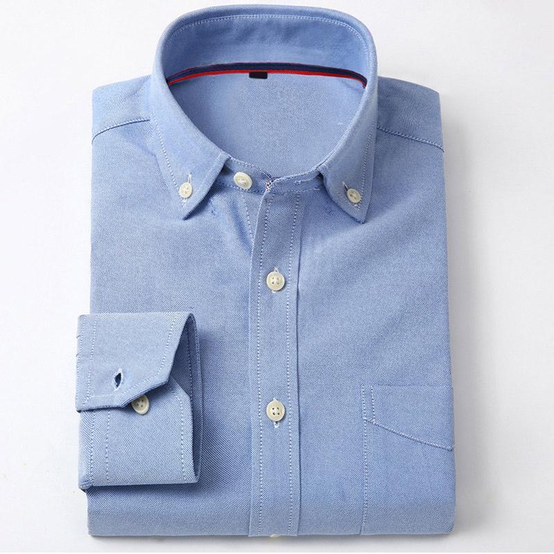 Tasche Umlegekragen Herrenhemd LongSleeve Solide Rosa Business Shirts Für Herren 2018 Herbst Schlank Einreiher Mann Kleidung