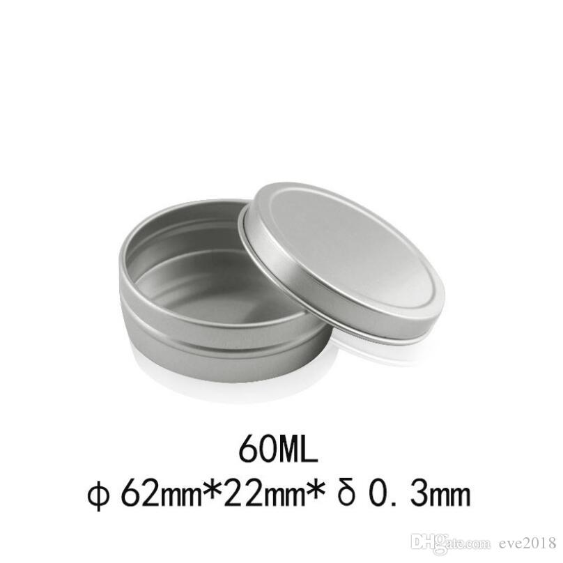 60g Aluminum cosmetic cream jar with lid, 2 oz empty metal lip balm gloss candle box pot containers LX3127