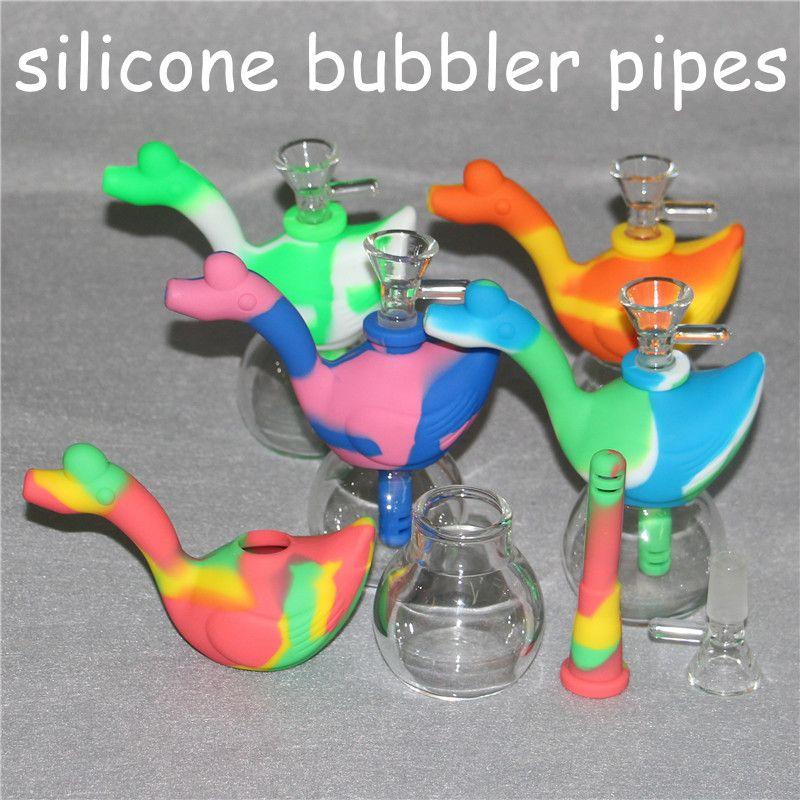 Tubos De Água De Silicone portátil para Fumar Seco Erva Infragável Percolator Bong Fumo Concentrado Tubos De Água De Vidro FDA Cera Dab Ferramentas