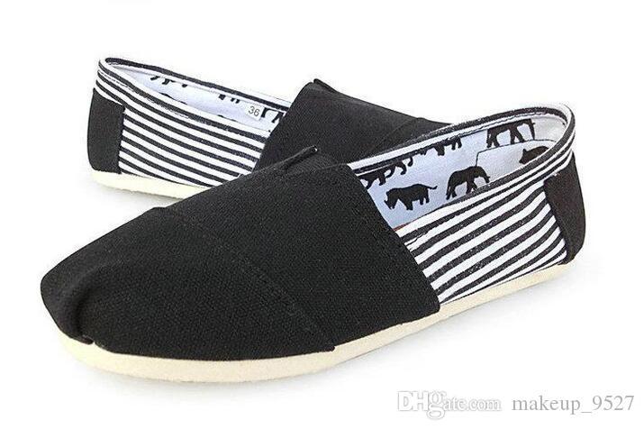 Sapatos casuais Mulheres Clássicos TOM MRS Mocassins Listra Lona Slip-On Flats sapatos Preguiçosos sapatos tamanho 35-45 frete grátis