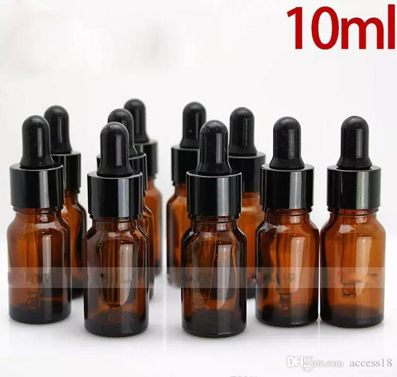 768Pcs/lot 10ml Amber Glass Dropper Bottles With Black Glass Pipette Cap For Essential Oils E Liquid Glass Containers DHL Free Shipping