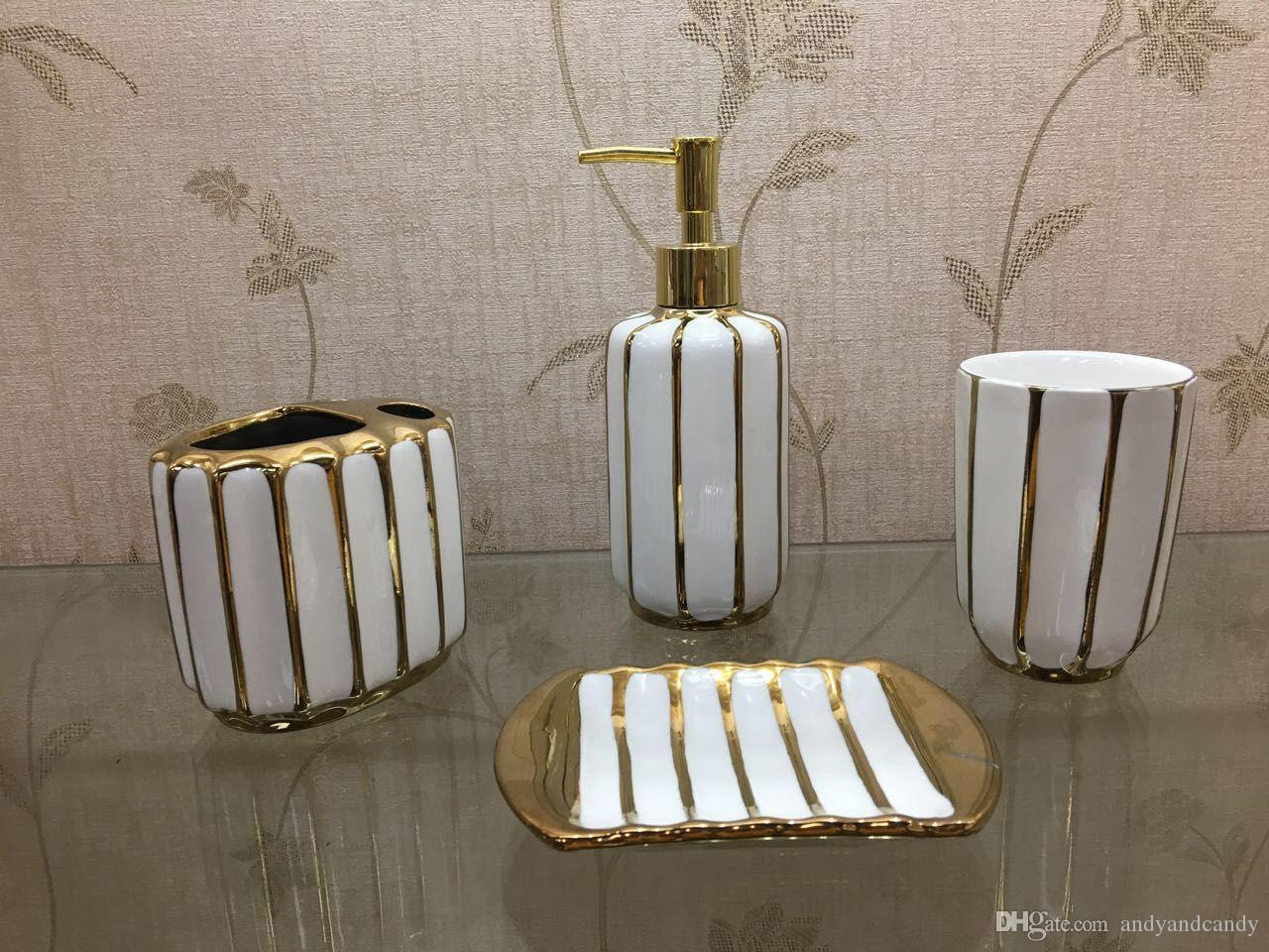 4Pcs/Set Bathroom Set Accessories Ceramic Bathroom Suit Include Cup Toothbrush Holder Soap Dish Dispenser Shampoo lotion Bottle
