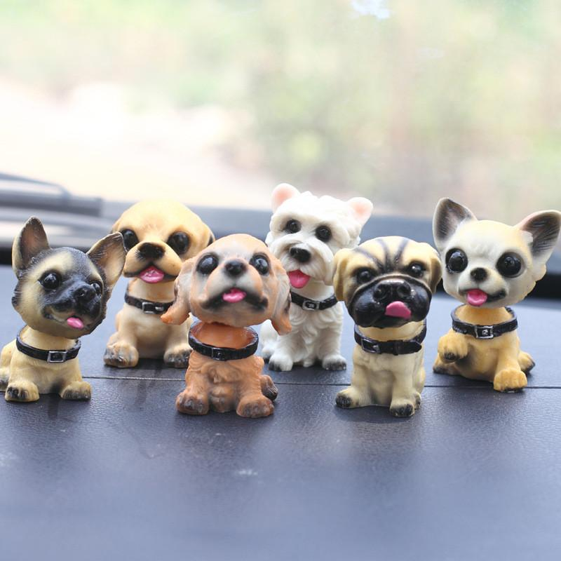 1pc Car Ornaments Cute Shaking Head Resin Dog Puppy Figurines Auto Interior Dashboard Toys Home Desktop Furnishing Decor Gifts