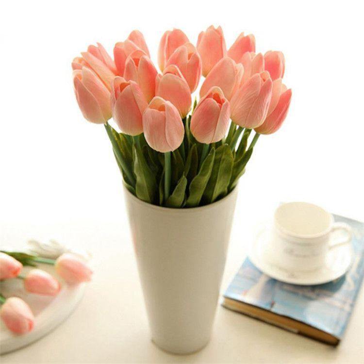 Tulipan Sztuczny Kwiat Ślubny Dekoracyjne Kwiaty Jedwab Sztuczny Bukiet Prawdziwy Dotyk Kwiaty Domowe Dekoracyjne Kwiaty Wieńce