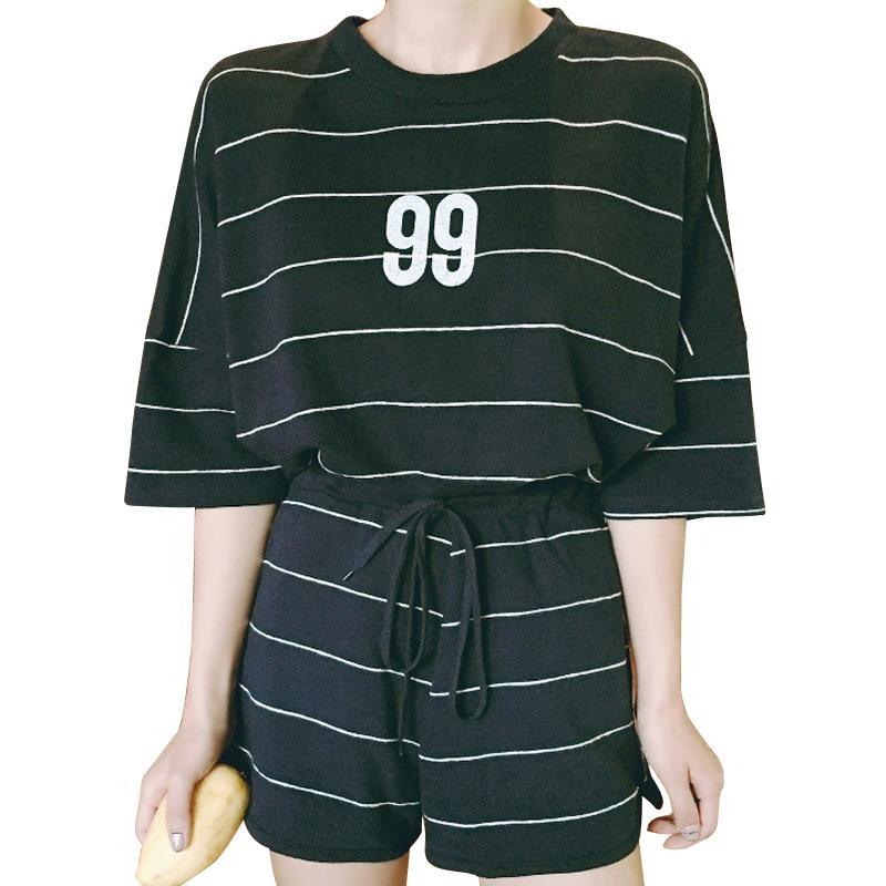 Casual due pezzi estate femminile 2018 nuova coreana sciolto studenti femminili indossare pantaloncini moda signore vestito marea