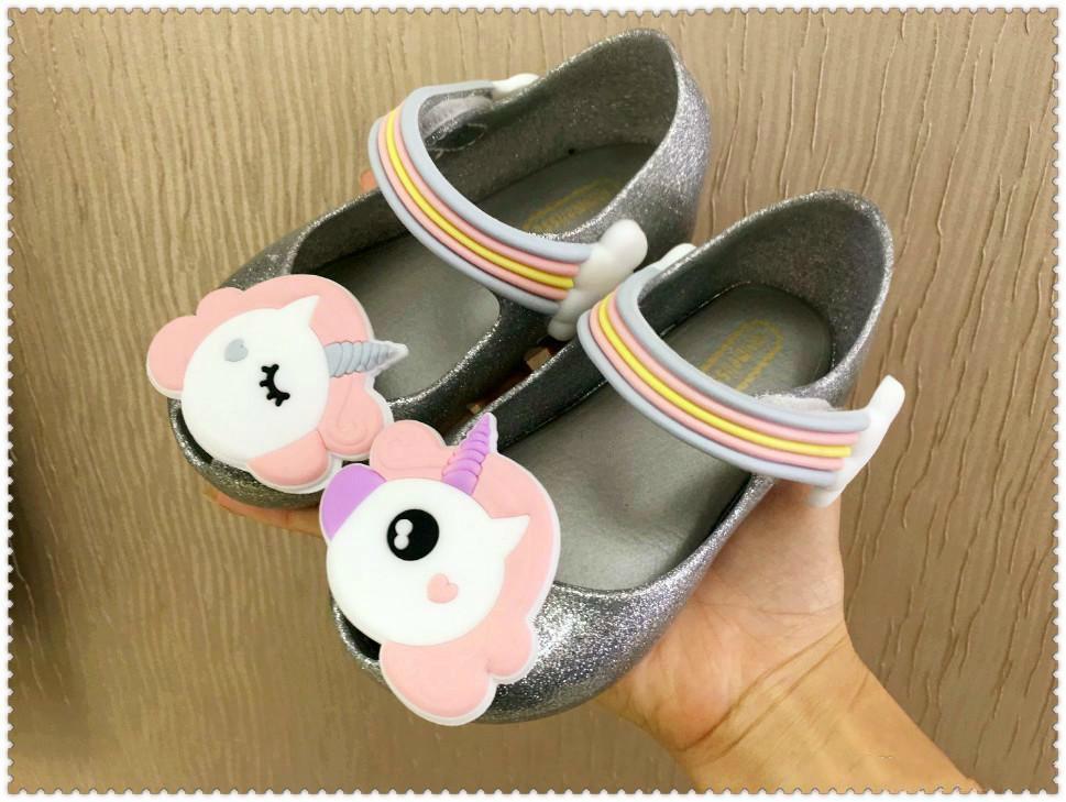 Mini Melissa 2018 Unicorn Infant Shoes New Winter Jelly Shoe Dargon Sandals For Cheap Girls Fish Mouth Girl Non-slip Kids Sandal Toddler