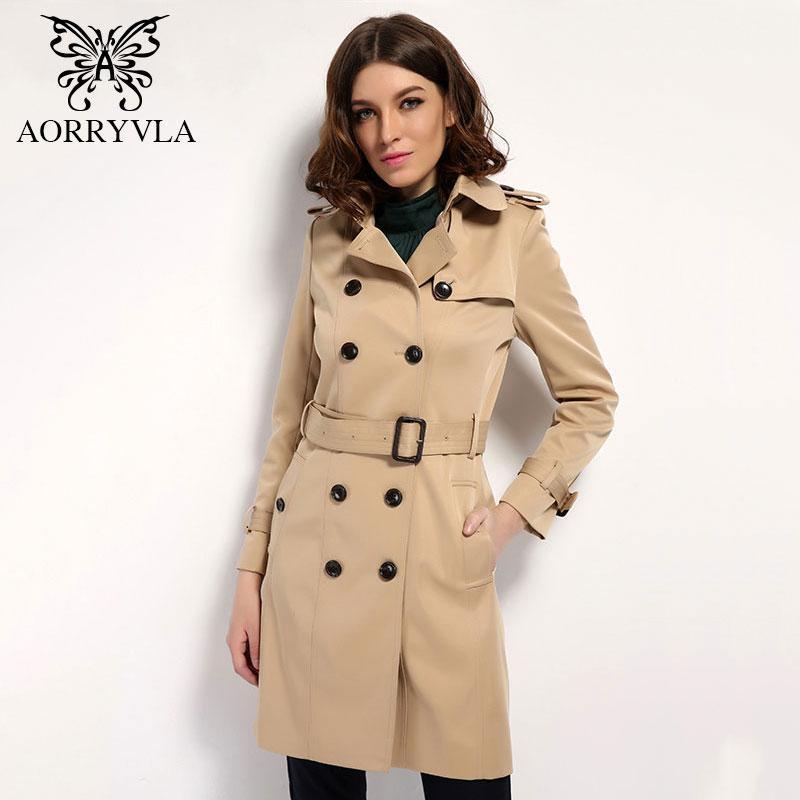 여성 봄을위한 클래식 더블 브레스트 트렌치 코트 새로운 패션 거리 조정 가능한 허리 턴 다운 칼라 여성 긴 겉옷