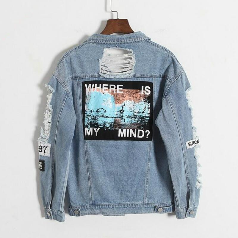 Drop shipping Where is my mind Korea retro frayed embroidery letter patch bomber jacket Blue Ripped Distressed Denim Coat Female S18101203