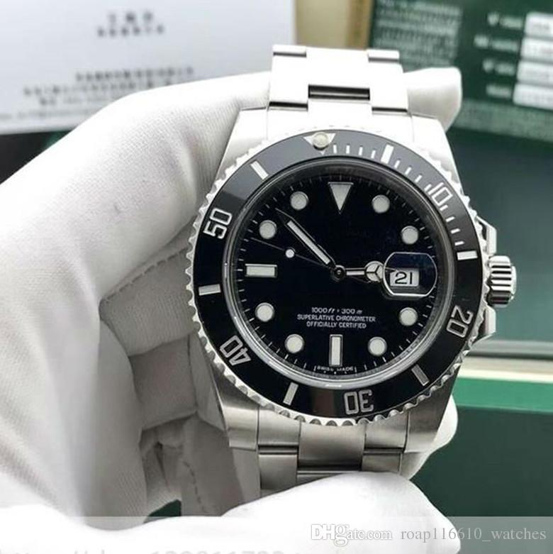 Высокое качество черный роскошные часы коробка черный керамический безель циферблат 116610 Браслет из нержавеющей стали автоматические мужские мужские часы