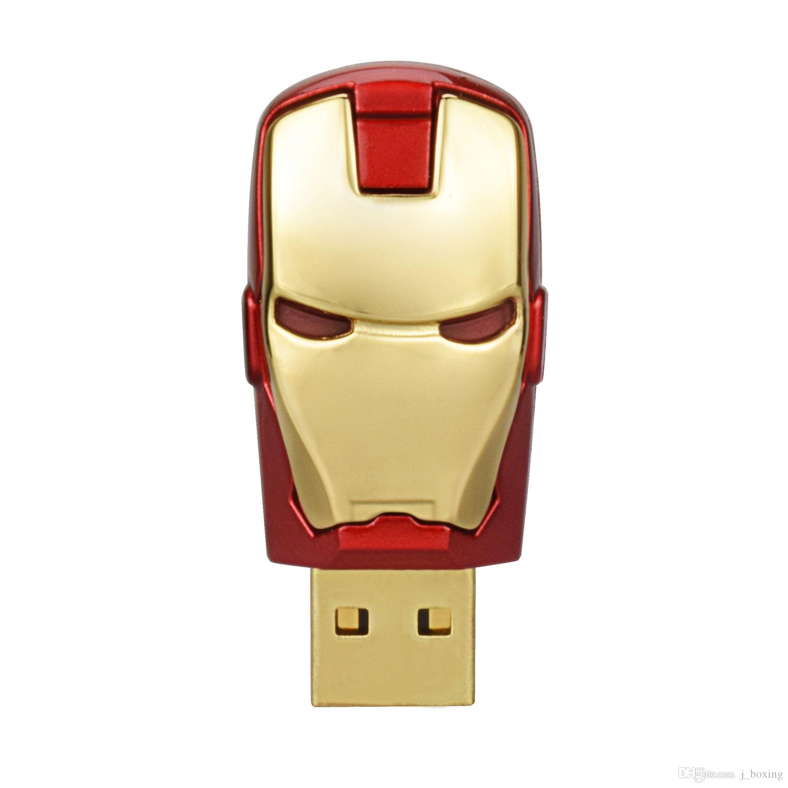 Free Shipping 10PCS/LOT 64MB LED Iron Man USB Flash Drives Thumb Pen Drives Storage for PC Laptop Tablet 64mb USB 2.0 Memory Stick Gold