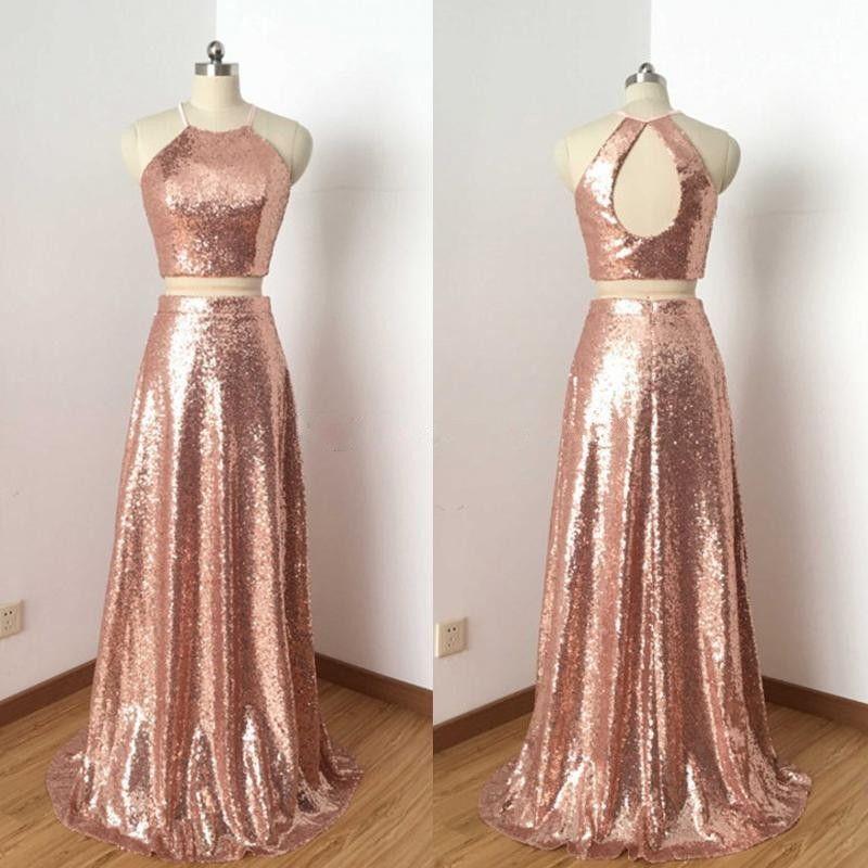 Vestidos Para Bailes De Formatura 2018 Rose Gold Two Piece Vestidos De Baile De Lantejoulas Jewel Halter Keyhole Voltar Simples Longo Vestidos De