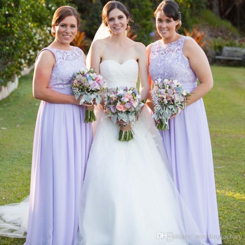 Plus größe lavendel brautjungfern kleider spitze chiffon bodenlänge hochwertiger hochzeitsgast formale kleid sheer crew neck ärmellos