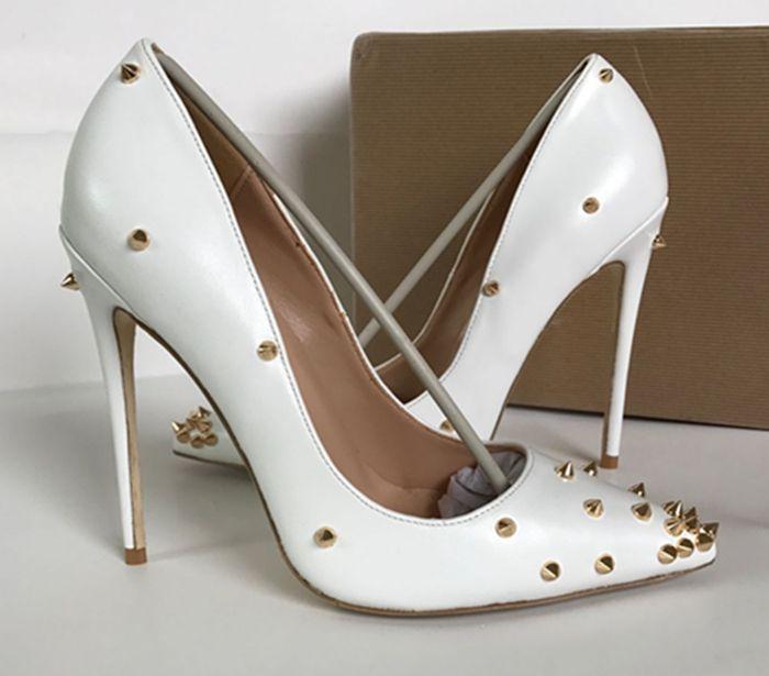 scarpe di marca red sloe donne pompe scarpe tacco alto rivetto scarpe a punta tacco fine signora scarpe da sposa fondo per il rosso 8 cm 10 cm 12 cm