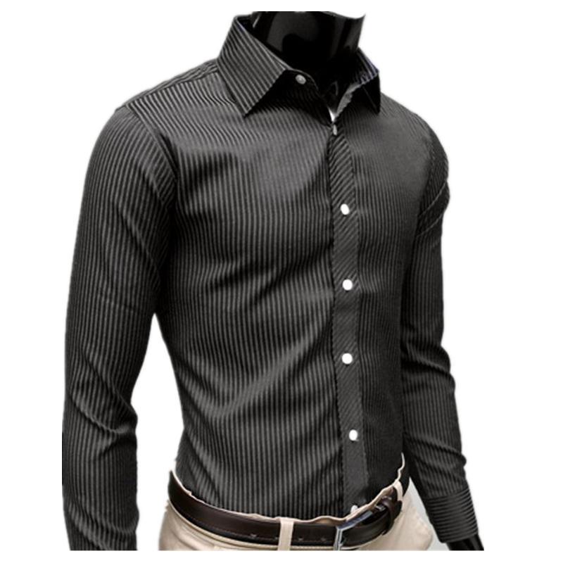 Wholesale- New Mens Casual Striped Shirt long Sleeve Luxury Stylish Dress Slim Shirts Mens High Quality Camisas Para Hombre Hawaiian Shirt