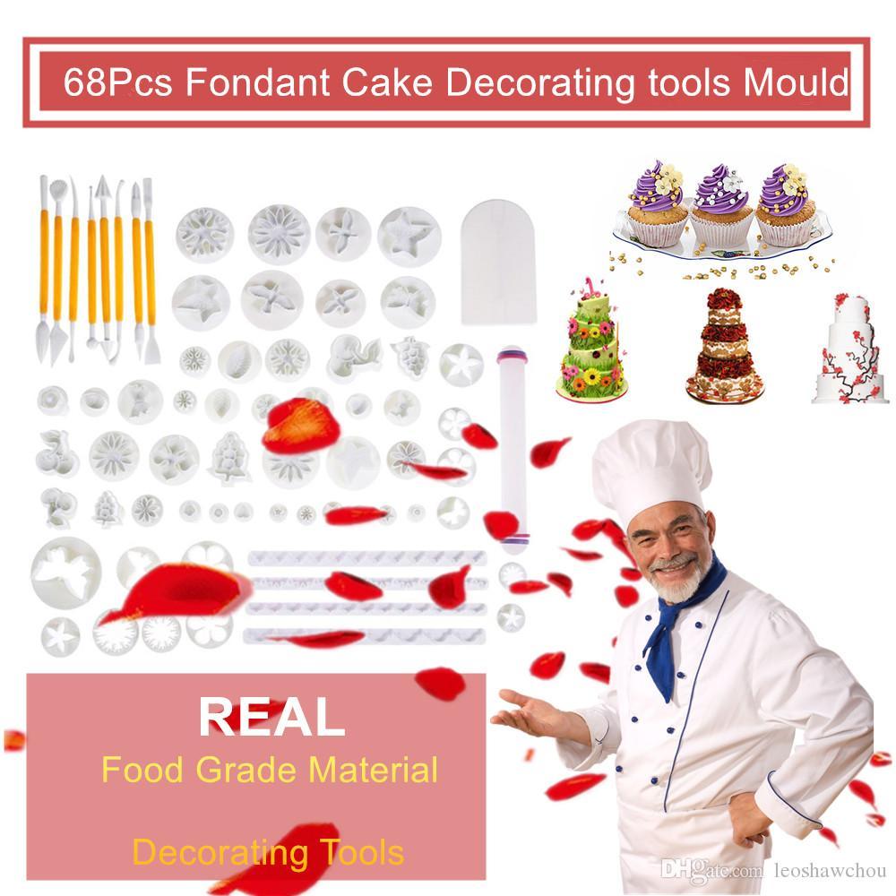 Новые 68pcs торт Выпечка Cookie Mold Fondant Сахар Craft Обледенение Плунжерные Вставить Фрезы Инструменты торт украшения цветочные узоры лепка Kit