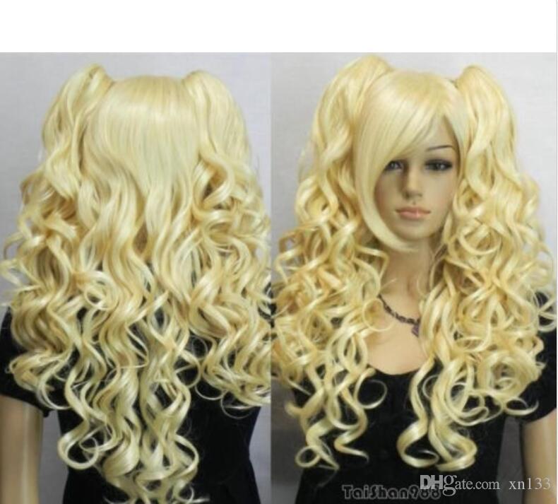 Heißer Verkauf neue blonde Clip auf 2 Pferdeschwanz lockige Cosplay Frauen Haar Perücke Perücken + Cap