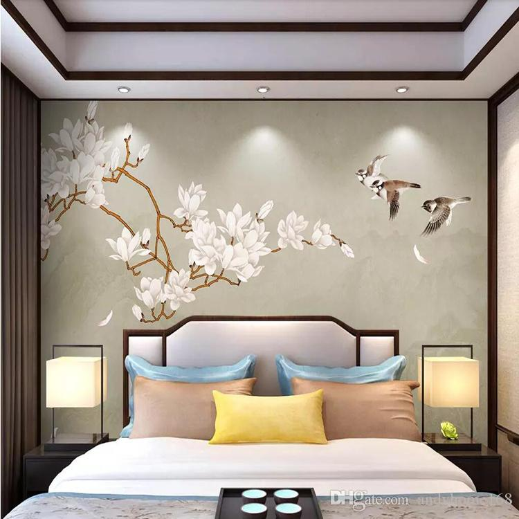 Arkadi Hand-painted flowers and birds Chinese landscape background wall TV background wall painting bedroom wall covering