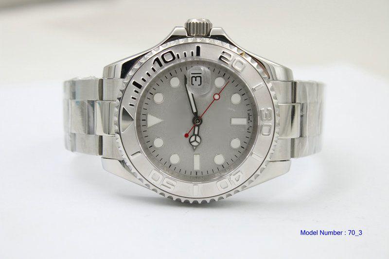 Bom mostrador cinza automático Caixa de aço inoxidável Cor de titânio Agulha de platina vermelha Modelo de relógio 116622 Coroa de enrolamento Mens