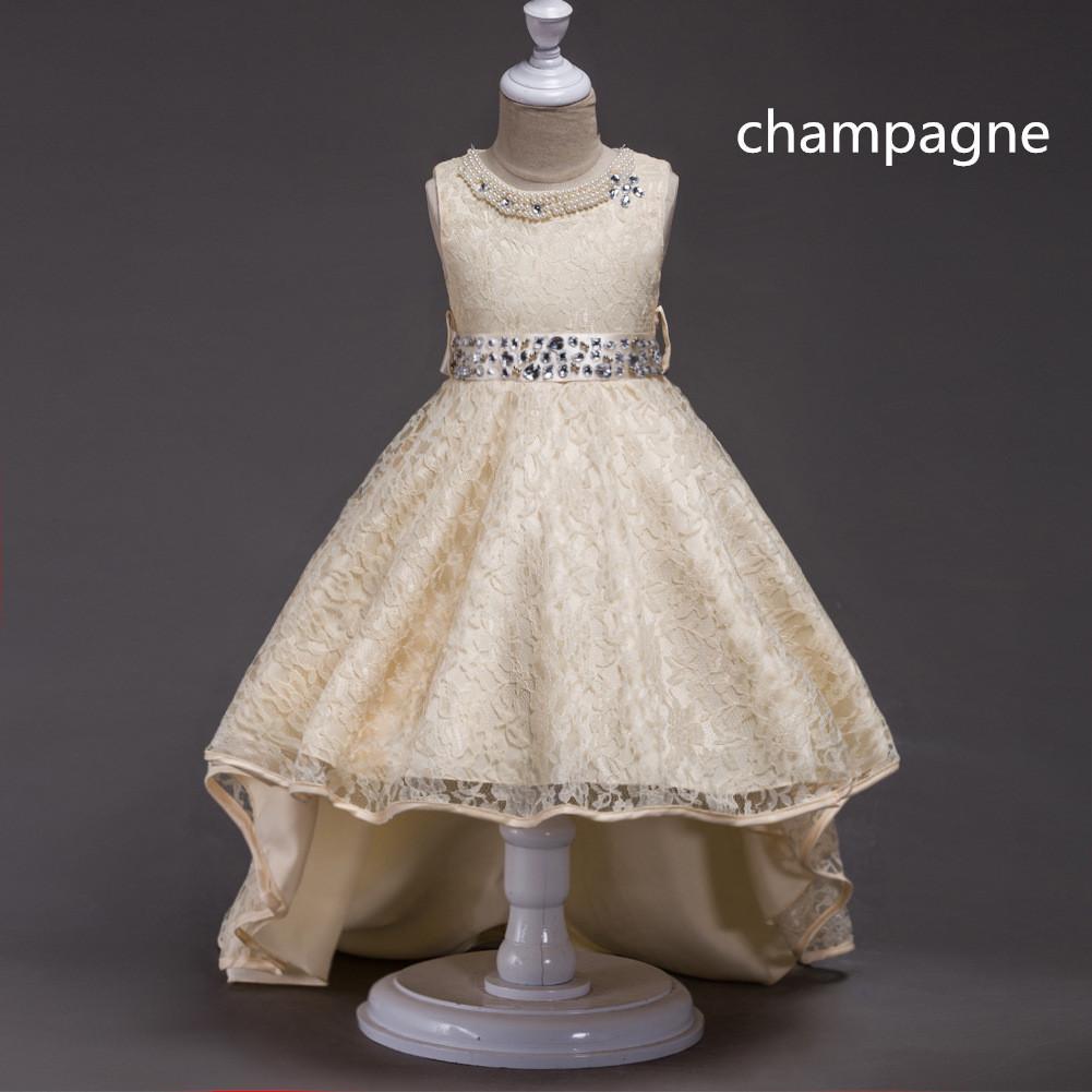 Mode Bling rote Blumen-Mädchen-Kleider Schöne bodenlange Prinzessin Ball Grown O-Neck Sleeveless Mädchen Kleid