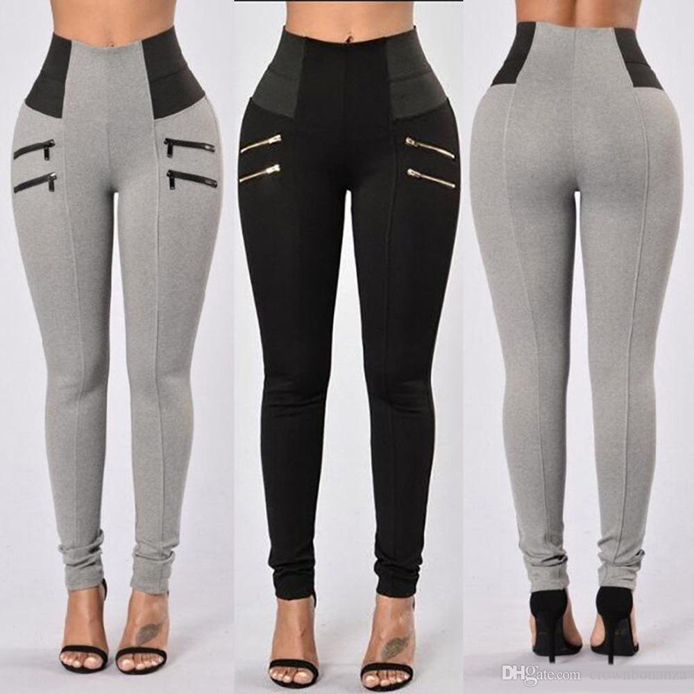 official photos new styles best collection 2019 Women'S Fashion New Leggings Elastic Zipper Design High Waist Legging  Solid Mid Calf Leggings Pants Plus Size Trousers Plus Size From ...