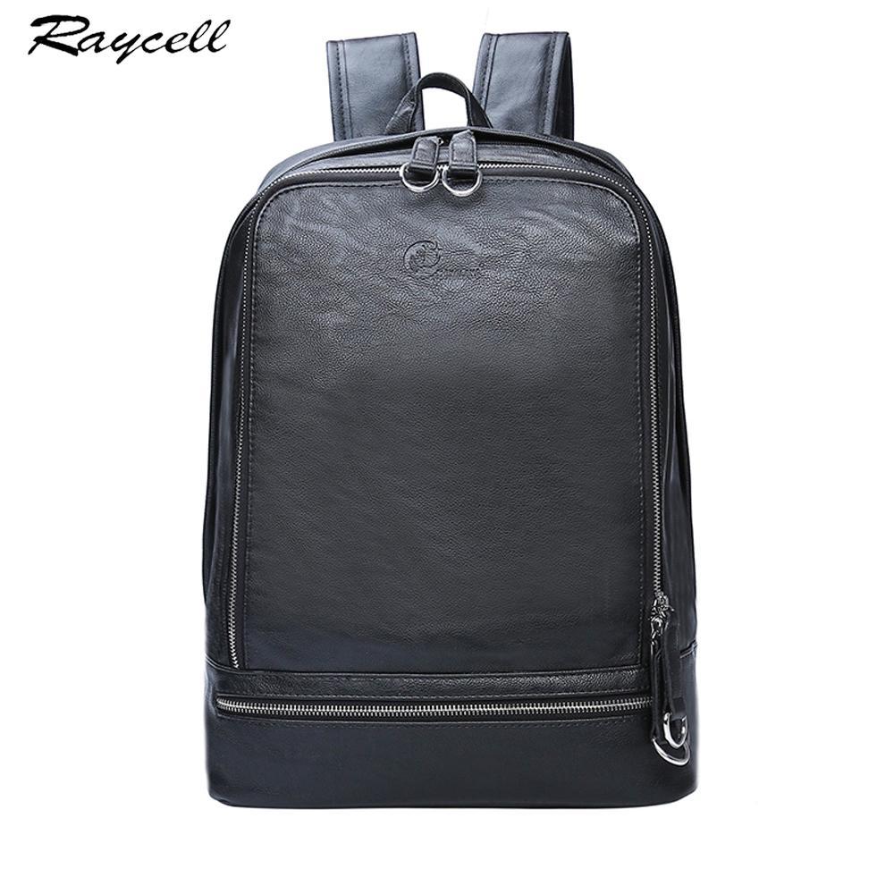 Genuine Leather Men Backpack  Design Waterproof 15.6 Inch Laptop Men Business Backpacks For High Quality Casual Bag
