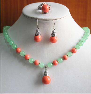 Frete Grátis melhor presente conjunto de jóias! Atacado preço de fábrica das Mulheres luz verde e vermelho Natural / pérola Colar brinco anel (7/8/9) set # 11