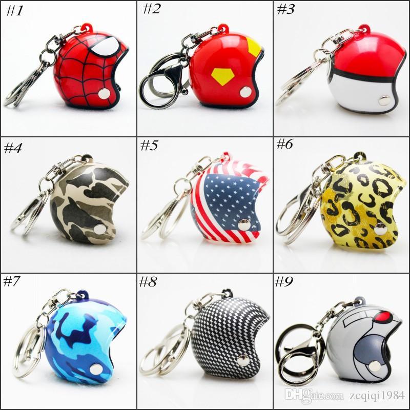Motorcycle Helmet Keychain Safety Helmet Hat Car Key chain Knight Hat Car Protective Cap Plastic Key Chain 15 styles