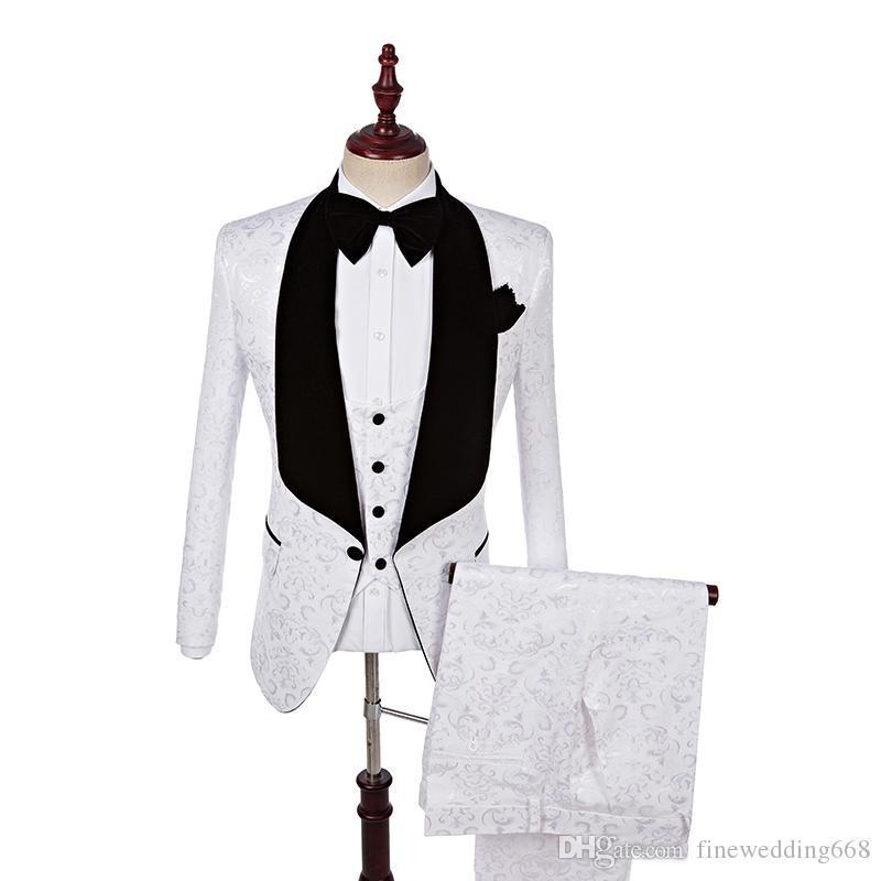 Dernière Conception Châle Revers Blanc Un Bouton De Mariage Marié Tuxedos Hommes Costumes Mariage / Bal / Dîner Meilleur Homme Blazer (Veste + Cravate + Gilet + Pantalon) m115