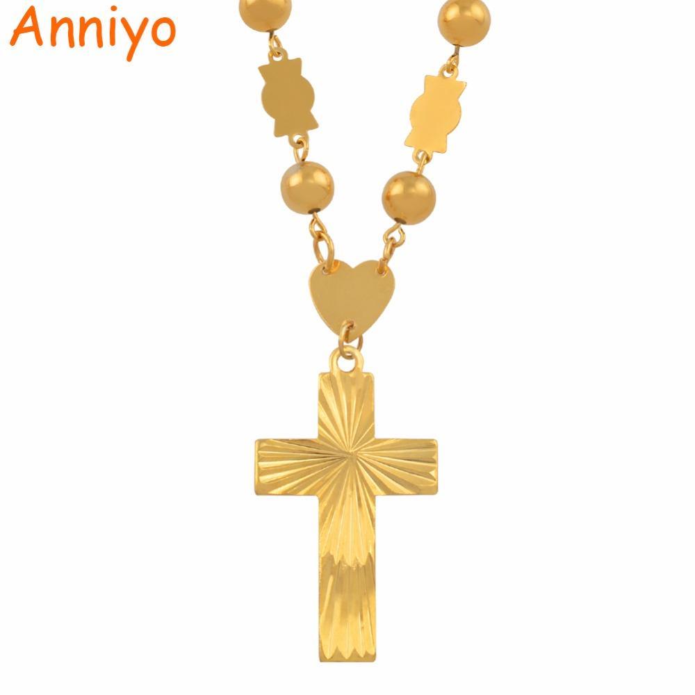 Anniyo Marshall Colliers Perles Chaînes Avec Pendentif Croix Pour Les Femmes Or Couleur Hawaii Îles De La Micronésie Bijoux Cadeaux # 138606