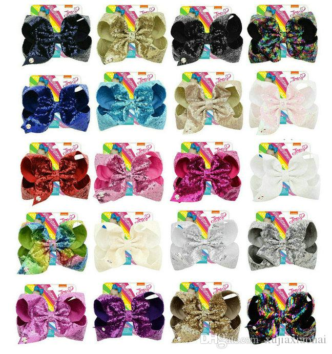 new style JOJO Bow paillette big bowknot 8 Inchs 20 Colors Mixed Girl bobby pin flashing baby hair accessories with cardboard