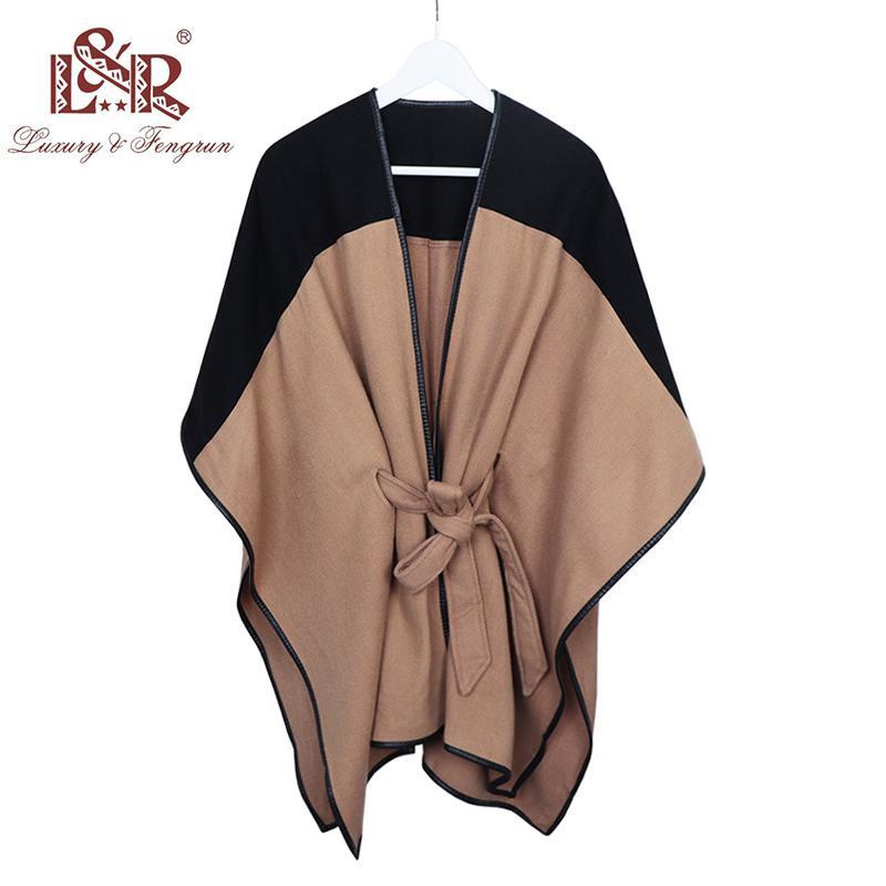 2018 새로운 디자인 Waistban 데스 Winter Poncho 여성용 여성용 캐시미어 양모 Ponchos Leather Hem Shawl 여성용 니트 여성용 판초 스카프 S1020