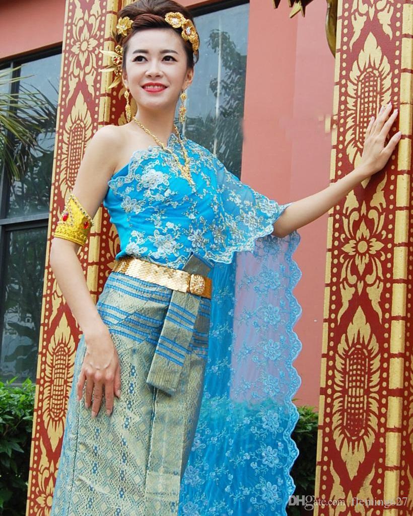 Oriental Asian Thai Laos Vietnam Dai Nation Danza popolare Vestito tradizionale blu Monospalla Queen Antica stile thailandese Outfit