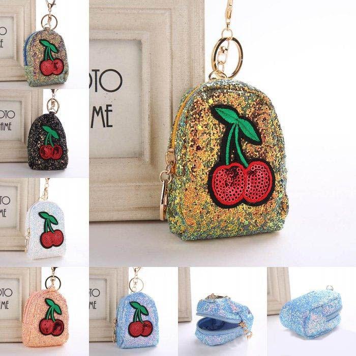 여성 sequin 지갑 열쇠 고리 체리 스팽글 과일 미니 동전 지갑 펜던트 열쇠 고리 가방 자동차 용품 keyfob 6 스타일