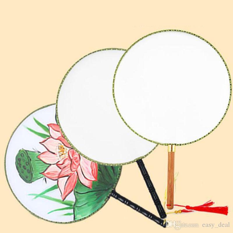 파티 호의 24cm DIY 빈 흰색 실크 핸드 팬 학생 어린이 손 그림 미세한 미술 프로그램 중국 궁전 둥근 팬 QW7471