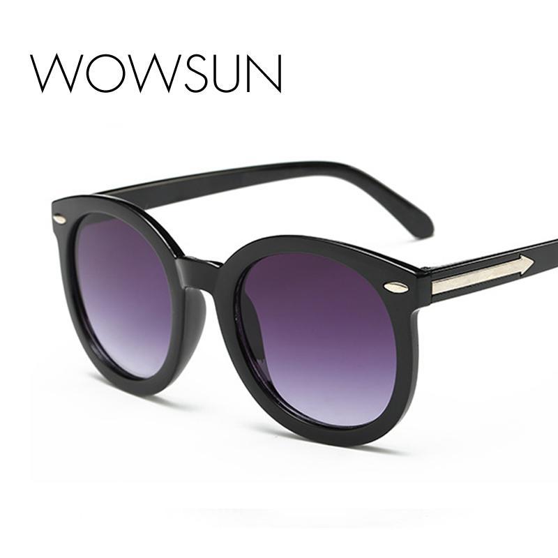 الإطار WOWSUN الأزياء جولة جديدة السيدات النظارات الشمسية العلامة التجارية PC السهم نظارات شمسية خمسة ألوان UV400 A408