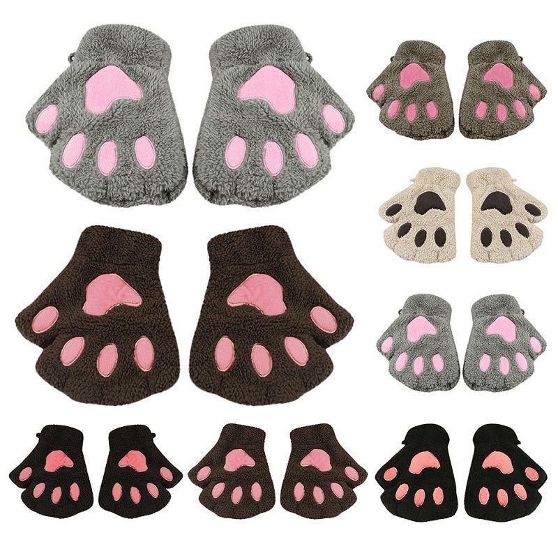 Fashion Winter Warmer Kids Baby Girl Cat Fingerless Hand Cute Cat Claw Paw Plush Gloves Mitten Soft Full Finger Gloves