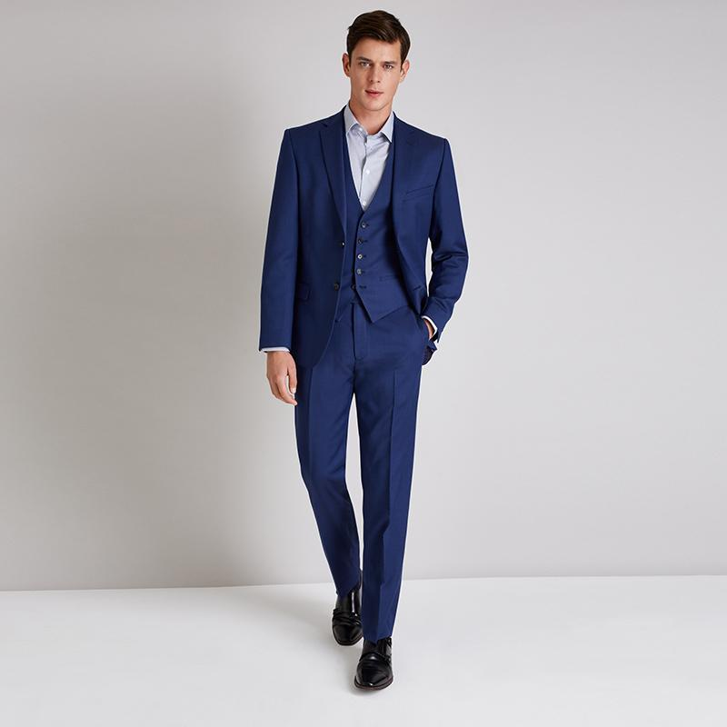 Latest coat pant designs elegant navy blue men suits classic man dress for business wedding prom slim fit blazers pants vest