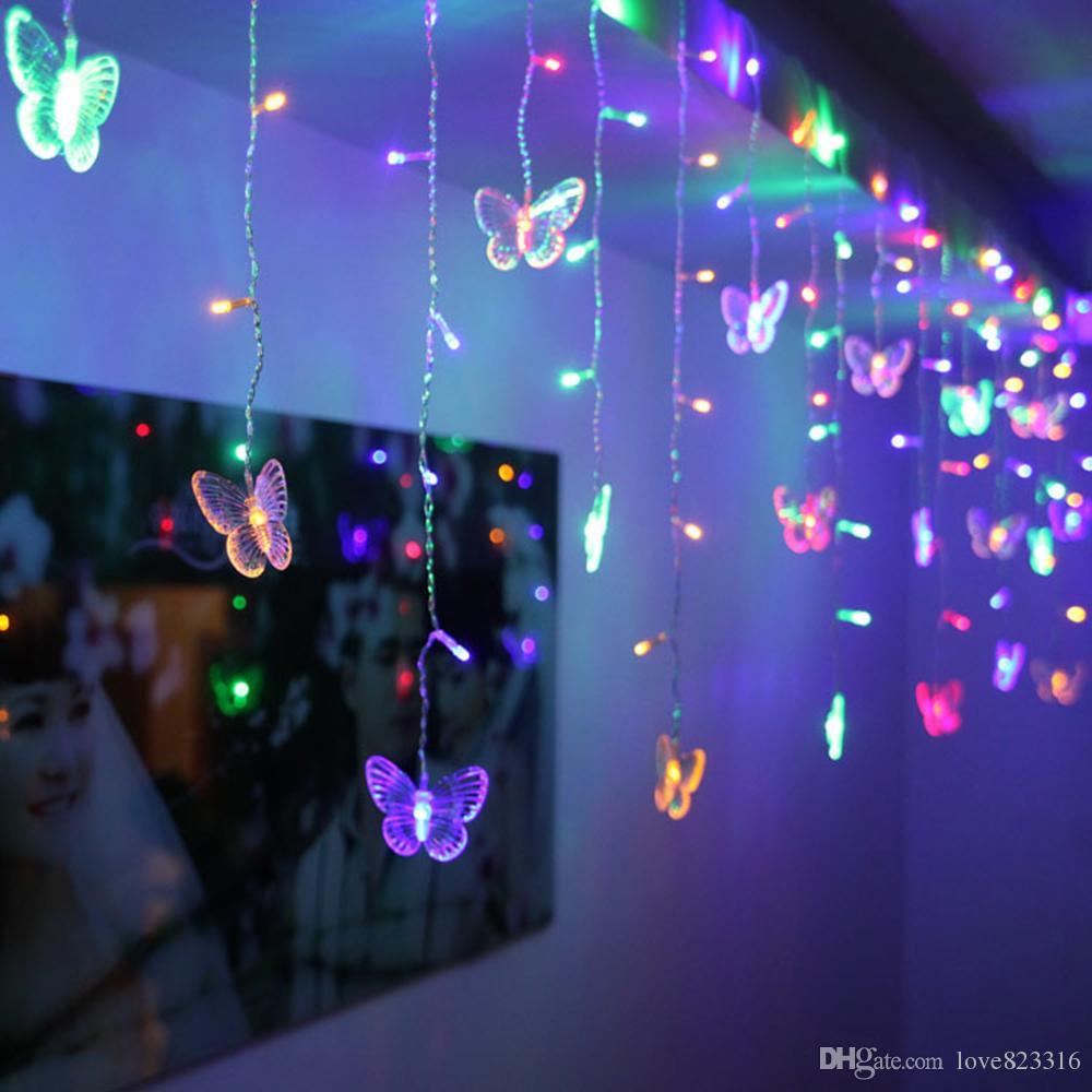 48 светодиодов светодиодные бабочки светодиодные строки 8 м * 0,5 м 220 В 110 В занавес праздничные огни Рождество Новый год гирлянда Свадебный декор
