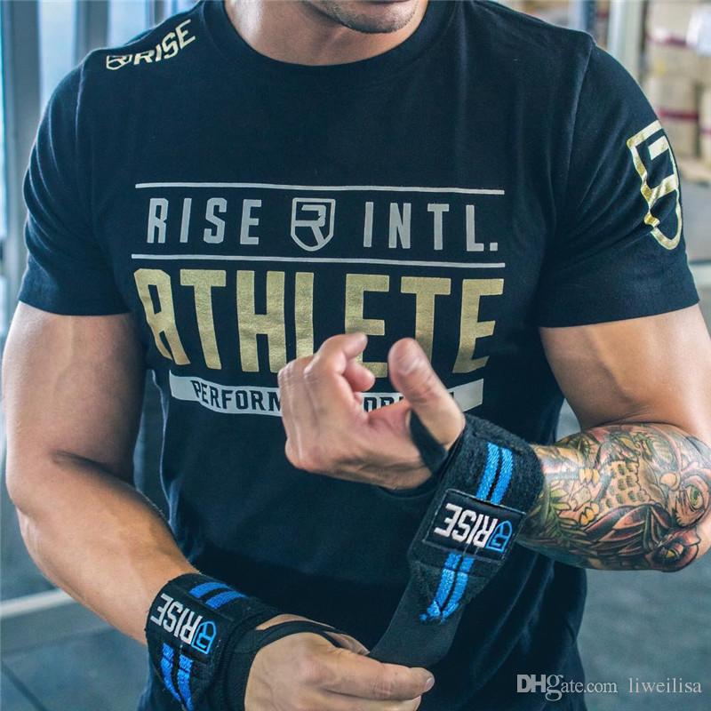 multicolor Mens Summer gyms Workout Fitness T-shirt Bodybuilding Slim Shirts printed Shirts printed O-neck Short sleeves cotton Tee Tops