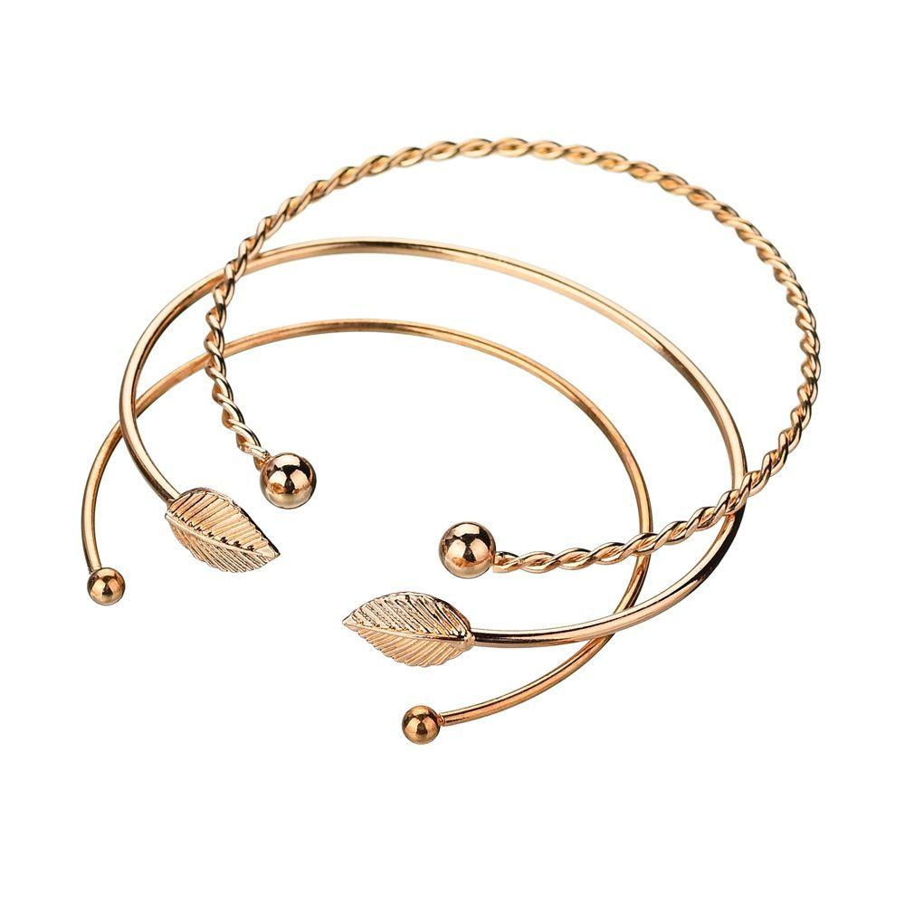 Мода личность оставляет отверстия Женские браслеты украшения для рук три штуки