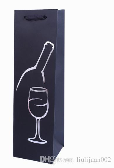 wholesale Creative wine packaging paper bags Doodle colored gift bags Gift packaging tote bag37*13*8.5cm