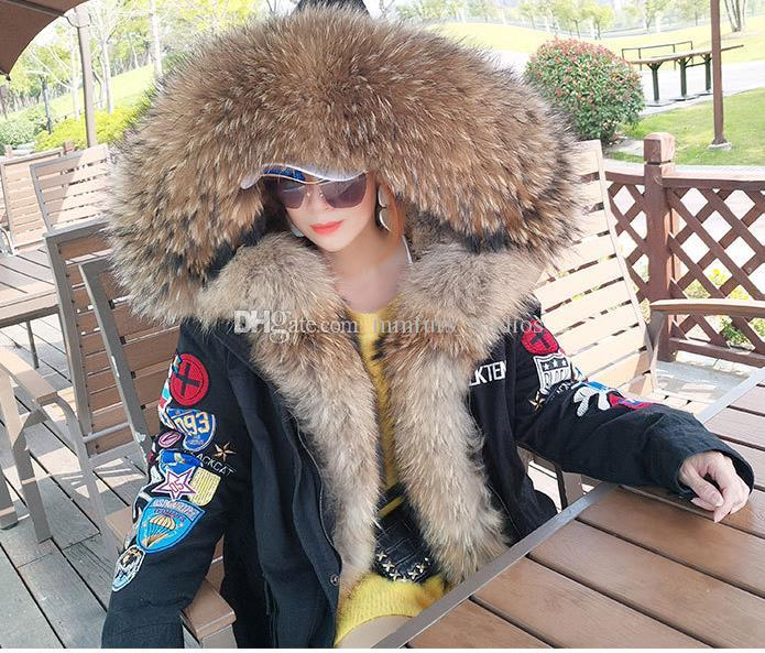Embroidery armband Jacket Hooded with Large Raccoon fur collar and 2 placket Women's down Liner Detachable Long Parkas