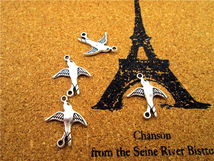 60pcs swallow Charms--antique silver swallow charms connectors ,antique silver jewelry findings 20x17mm