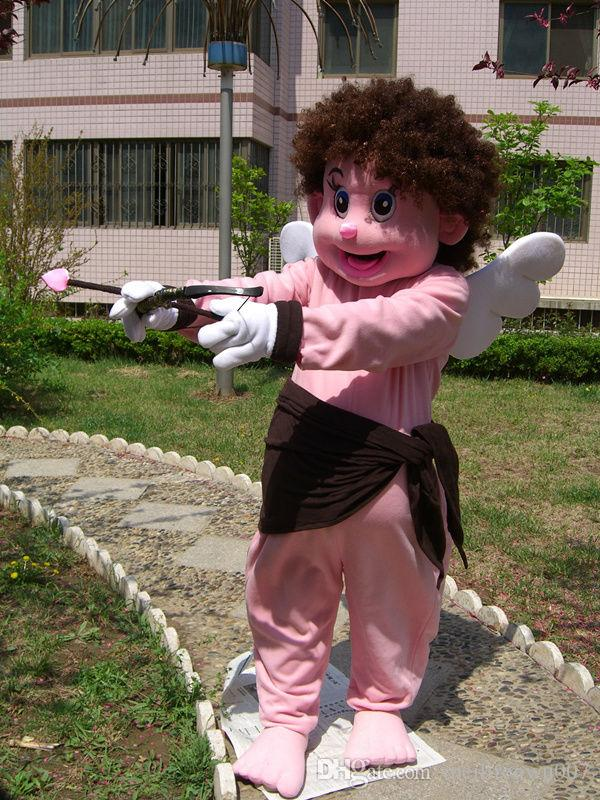 New lovely pink Cupid Mascot Costume Fancy Dress Adult Suit Size